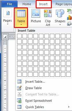 نحوه ایجاد جدول در ورد